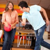 Healthy fitness date bowling